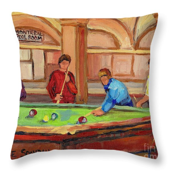 Montreal Pool Room Throw Pillow by Carole Spandau