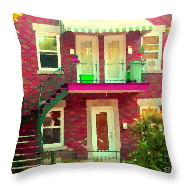 Montreal Stairs Painted Brick House Winding Staircase And Summer Awning City Scenes Carole Spandau Throw Pillow by Carole Spandau