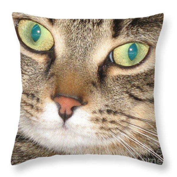 Monty The Cat Throw Pillow by Jolanta Anna Karolska