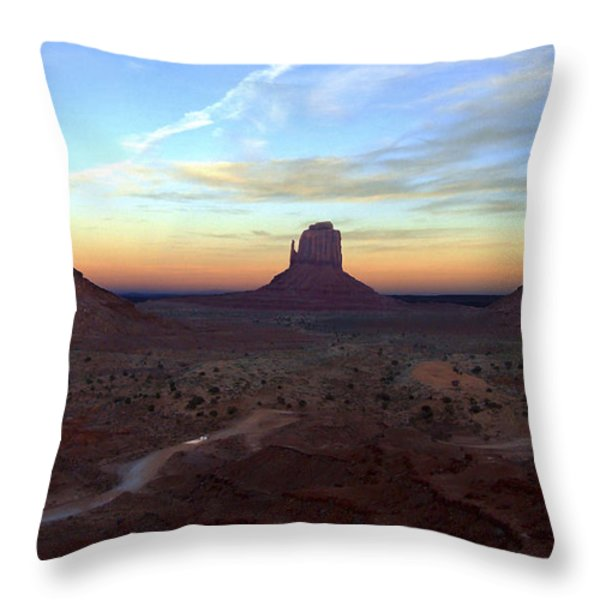 Monument Valley Just After Sunset Throw Pillow by Mike McGlothlen