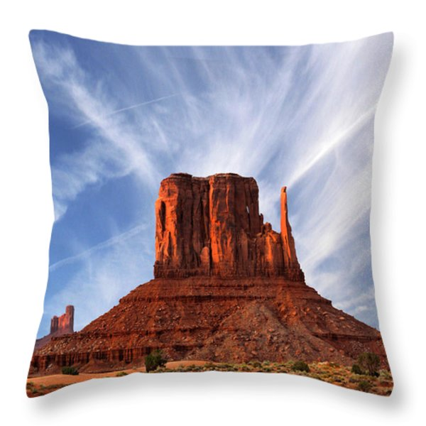 Monument Valley - Left Mitten 2 Throw Pillow by Mike McGlothlen