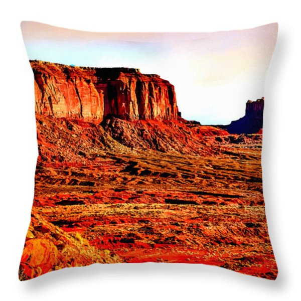 Monument Valley Sunset By Bob Johnston Throw Pillow by  Bob and Nadine Johnston