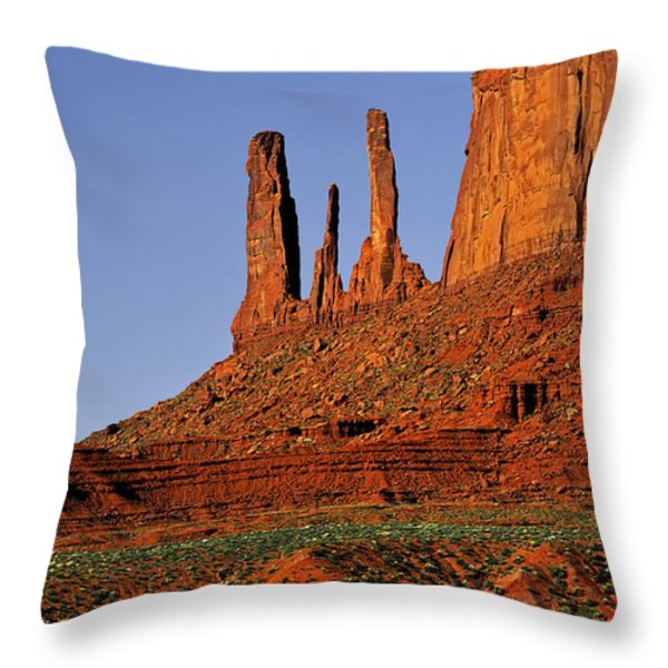 Monument Valley - The Three Sisters Throw Pillow by Christine Till