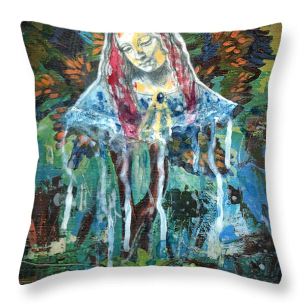 Monumental Tree Goddess Throw Pillow by Genevieve Esson