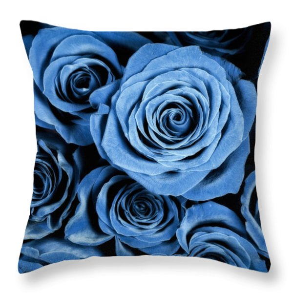 Moody Blue Rose Bouquet Throw Pillow by Adam Romanowicz