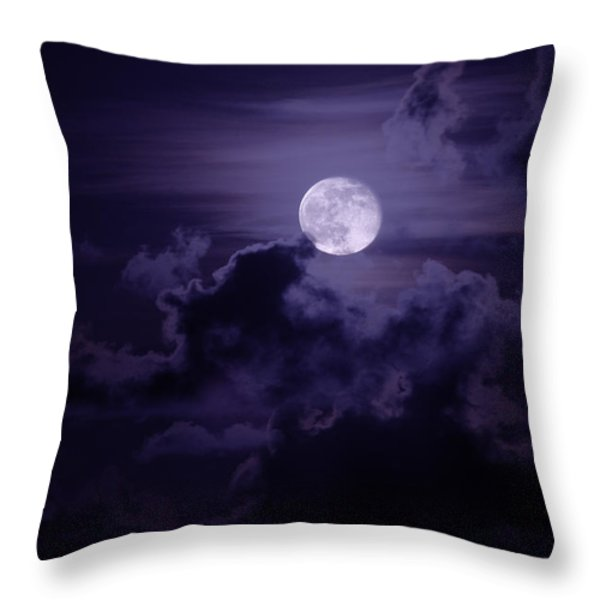 Moody Moon Throw Pillow by Chad Dutson