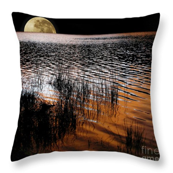 Moon Catching A Glimpse Of Sunset Throw Pillow by Kaye Menner