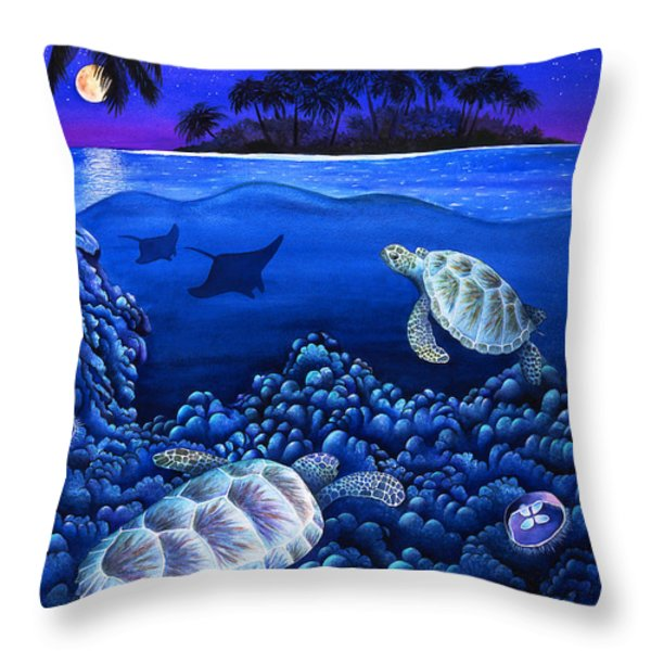 Moon Glow Throw Pillow by Carolyn Steele