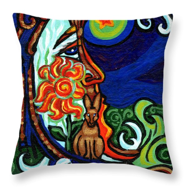 Moon In Tree Throw Pillow by Genevieve Esson