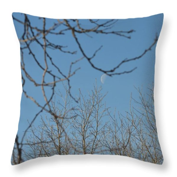 Moon On Treetop Throw Pillow by Sonali Gangane
