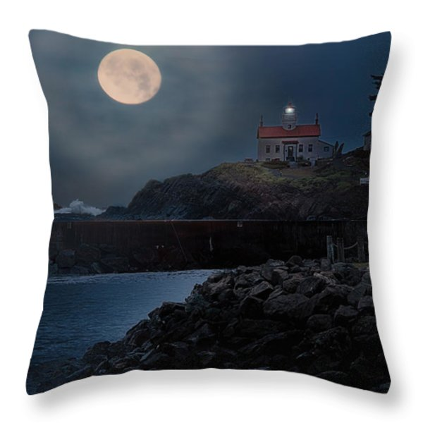 Moon Over Battery Point Throw Pillow by James Heckt