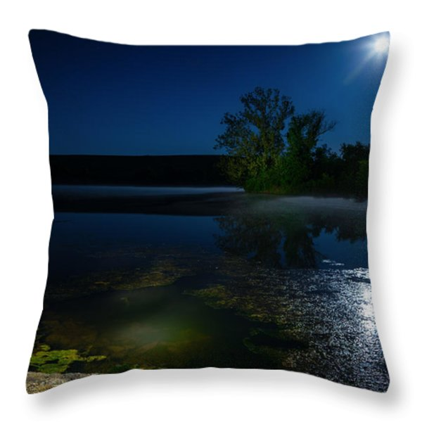 Moon Over Lake Throw Pillow by Alexey Stiop