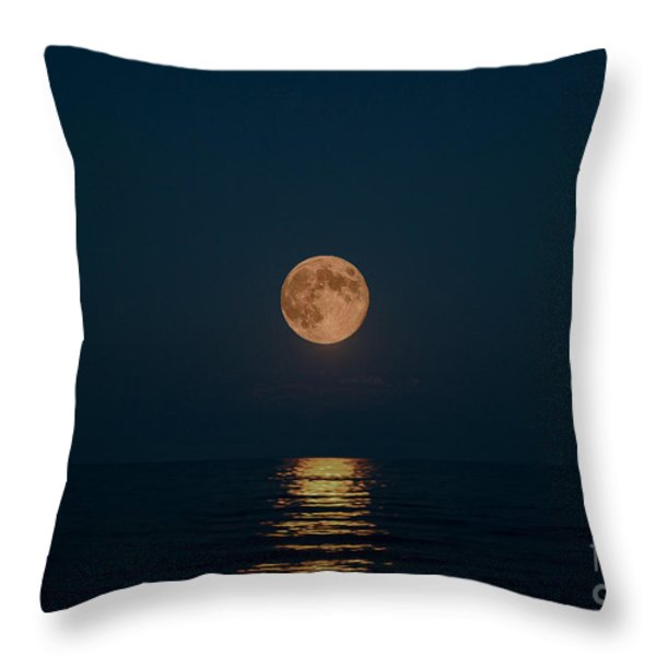 Moon Over Lake Of Shining Waters Throw Pillow by Barbara McMahon