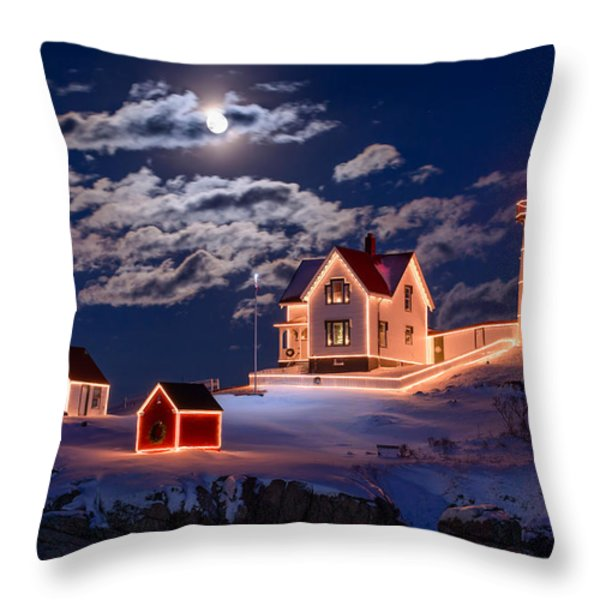 Moon over Nubble Throw Pillow by Michael Blanchette