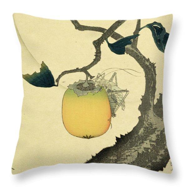 Moon Persimmon And Grasshopper Throw Pillow by Katsushika Hokusai