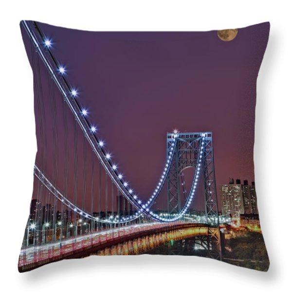 Moon Rise over the George Washington Bridge Throw Pillow by Susan Candelario