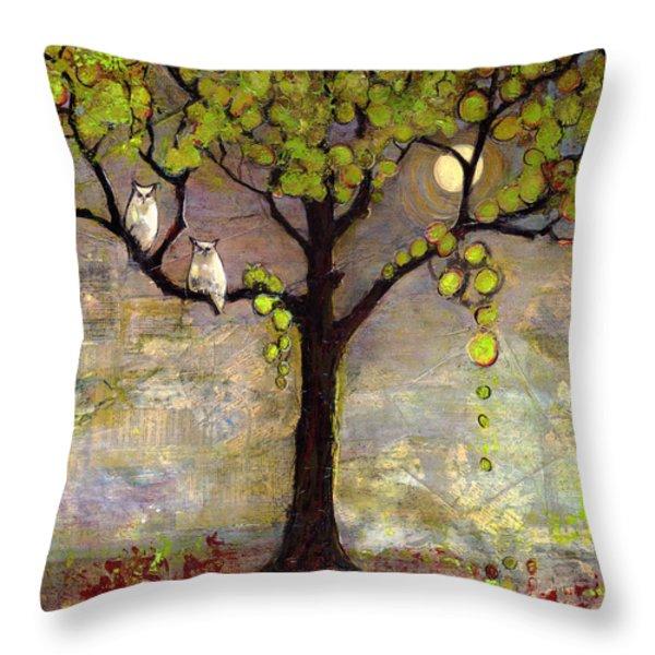 Moon River Tree Owls Art Throw Pillow by Blenda Studio