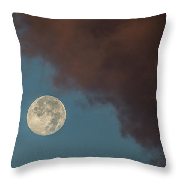 Moon Transition From Night To Day Throw Pillow by Rene Triay Photography