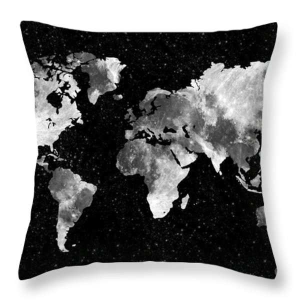 Moon World Map Throw Pillow by Delphimages Photo Creations