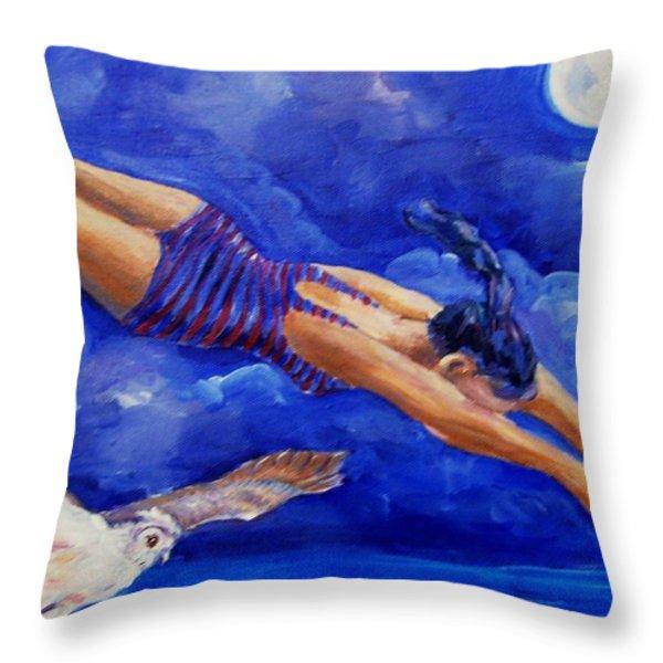 Moonbather  Throw Pillow by Trudi Doyle