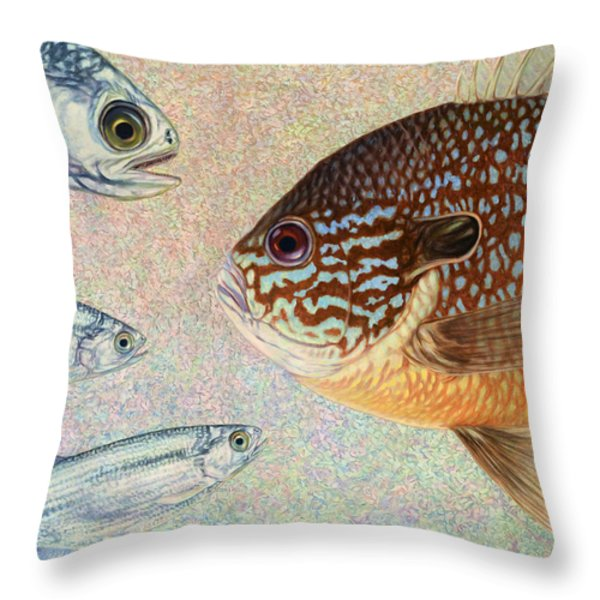 Mooneyes Sunfish Throw Pillow by James W Johnson
