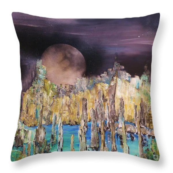 Moonhenge Throw Pillow by Kaye Miller-Dewing