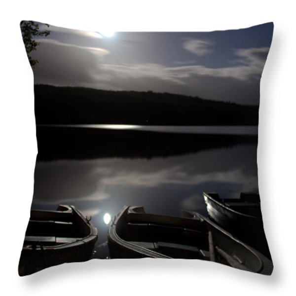 Moonlight On Achilty Loch Throw Pillow by Dave Cawkwell
