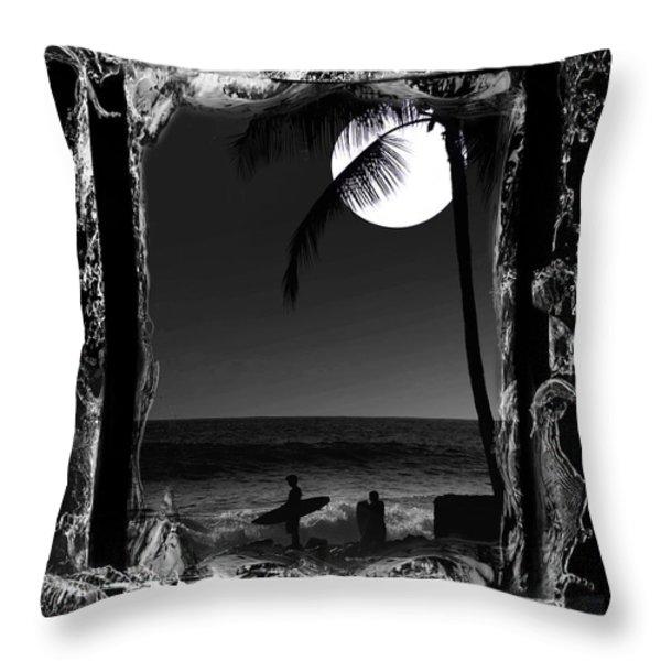 Moonlight surf Throw Pillow by Athala Carole Bruckner