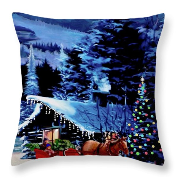 Moonlit Sleigh Ride Throw Pillow by Ronald Chambers