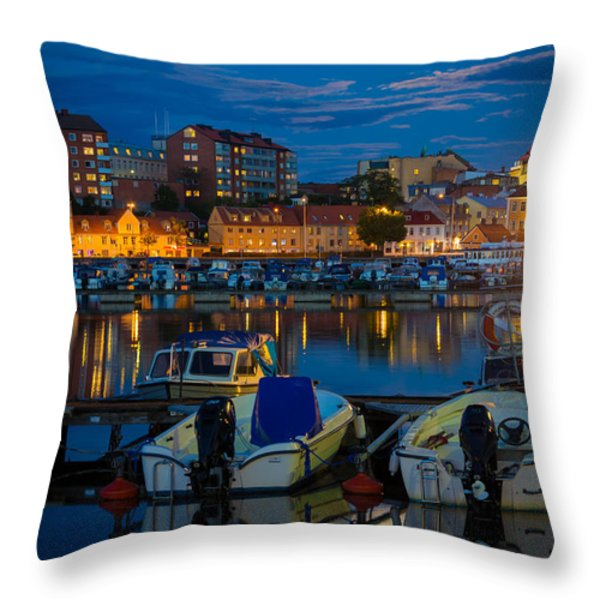 Moonrise In Karlskrona Throw Pillow by Inge Johnsson