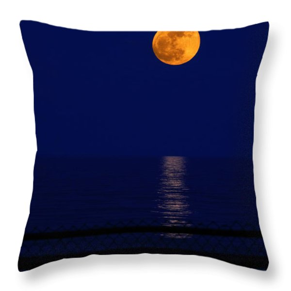 Moonrise Over Water Throw Pillow by Charline Xia