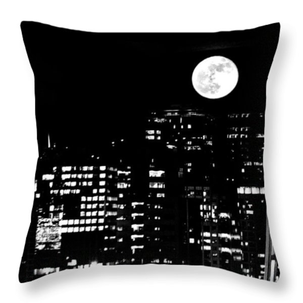 Moonrise Seattle Throw Pillow by Benjamin Yeager