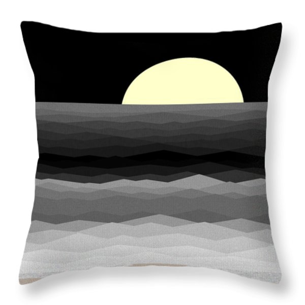 Moonrise Surf Throw Pillow by Val Arie