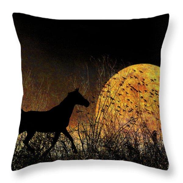 Moonrise Trot Throw Pillow by Karen Slagle