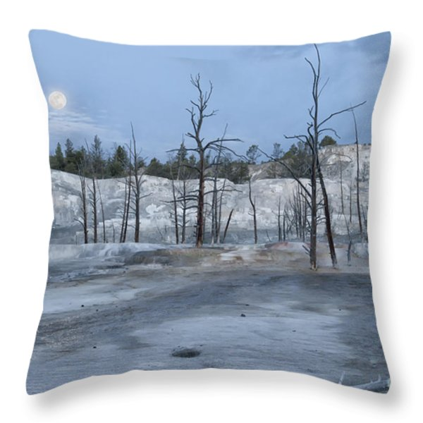 Moonset At Mammoth Terrace-yellowstone Throw Pillow by Sandra Bronstein