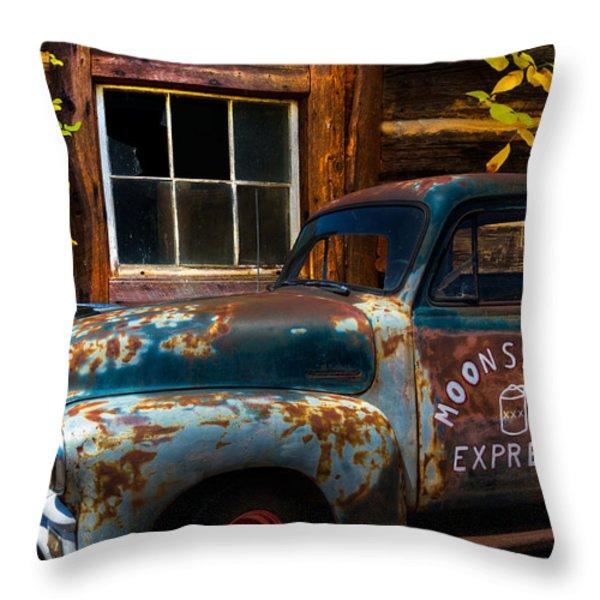 Moonshine Express Throw Pillow by Debra and Dave Vanderlaan