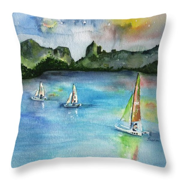 Moorea French Polynesia Island Throw Pillow by Sharon Mick