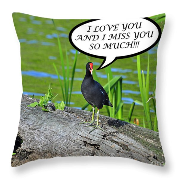 Moorhen Miss You Card Throw Pillow by Al Powell Photography USA