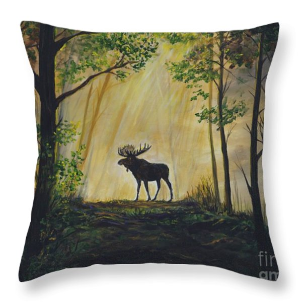 Moose Magnificent Throw Pillow by Leslie Allen