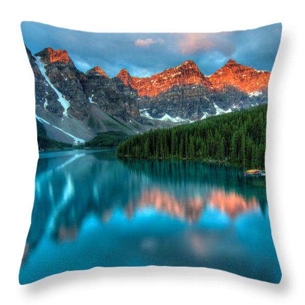 Moraine Lake Sunrise Throw Pillow by James Wheeler