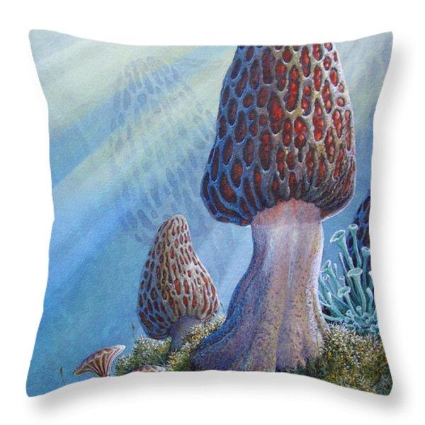 morel mushrooms Throw Pillow by Mike Stinnett