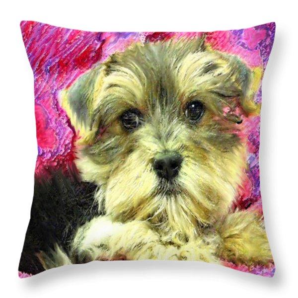 Morkie Puppy Throw Pillow by Jane Schnetlage
