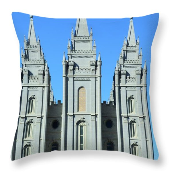Morman Temple Throw Pillow by Kathleen Struckle