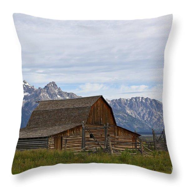 Mormon Row Barn Grand Teton Np  Throw Pillow by Teresa Zieba