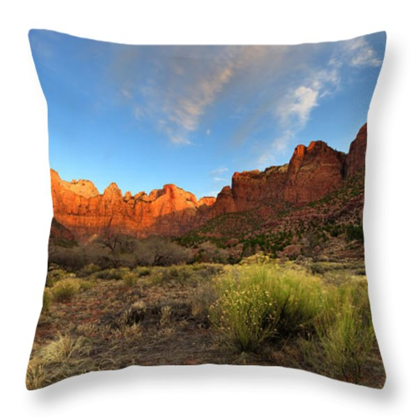 Morning Above Virgin Throw Pillow by Chad Dutson