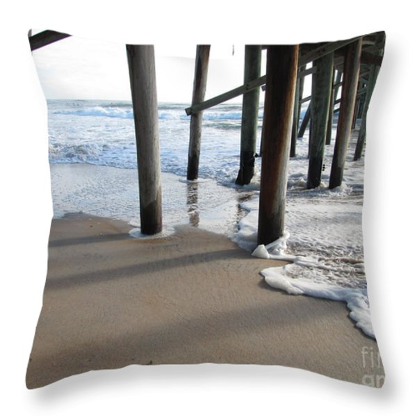 Morning At The Pier Throw Pillow by Michele Napier-Berg