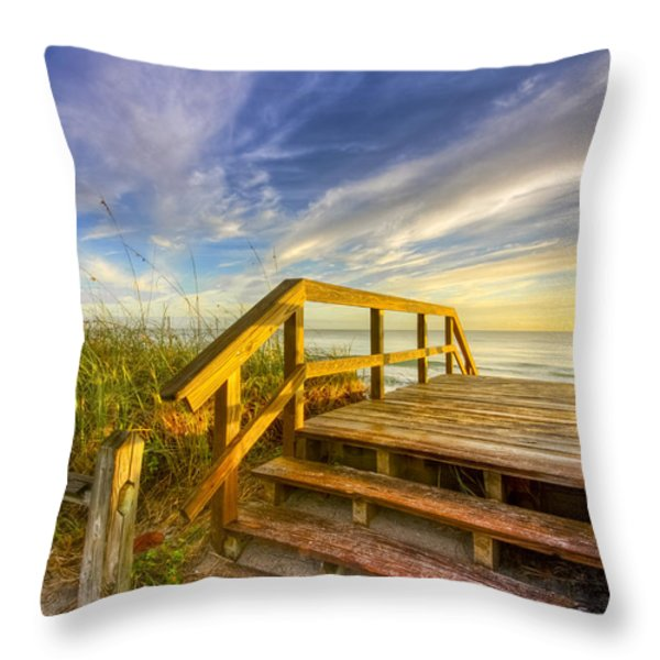 Morning Beach Walk Throw Pillow by Debra and Dave Vanderlaan