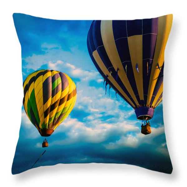 Morning Flight Hot Air Balloons Throw Pillow by Bob Orsillo
