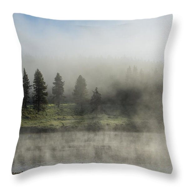 Morning Fog on the Yellowstone Throw Pillow by Sandra Bronstein