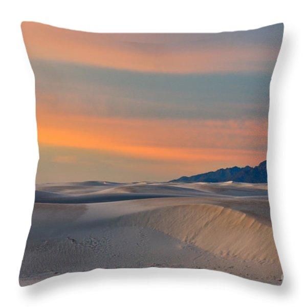 Morning Glory In White Sands Throw Pillow by Sandra Bronstein